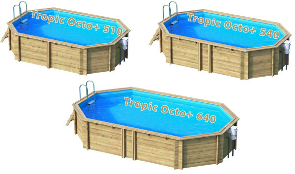 Pool aus Massivholz in Ovalform - Tropical Octo+