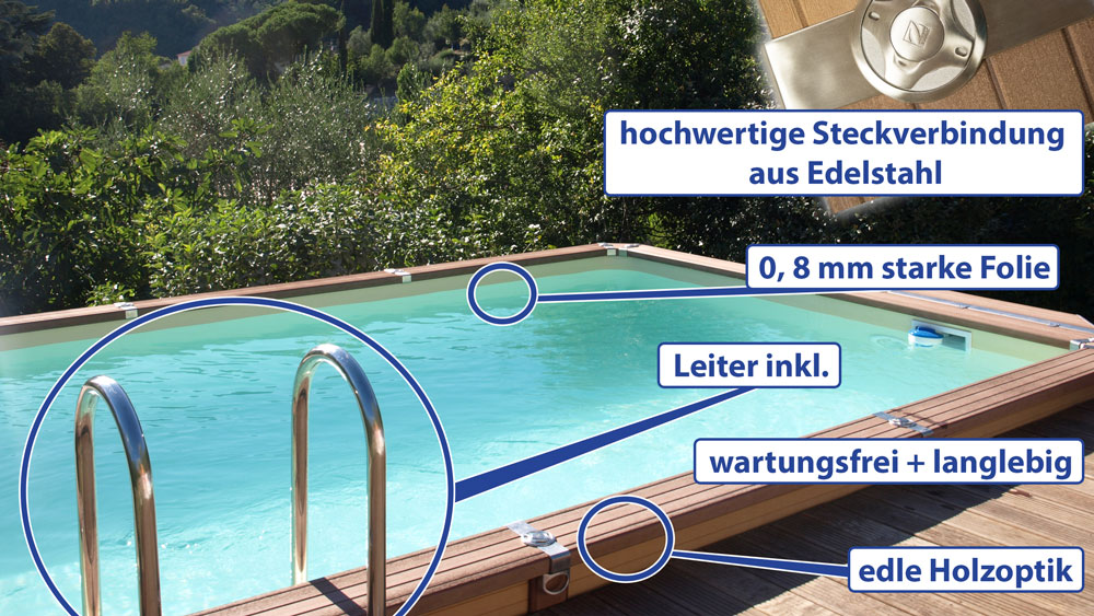 azteck pool rechteckbecken komplettset sunday pools onlineshop. Black Bedroom Furniture Sets. Home Design Ideas