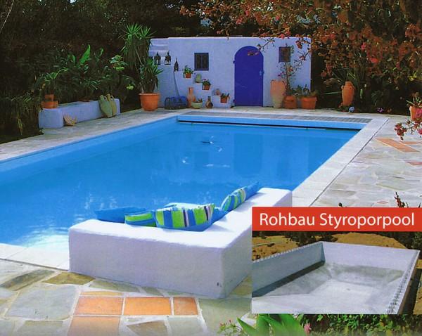 Styropor pool mit treppe ce26 hitoiro for Ovaler pool garten