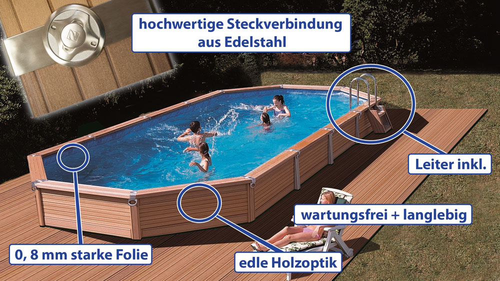 azteck pool oval holz swimming pool komplettset sunday pools onlineshop. Black Bedroom Furniture Sets. Home Design Ideas